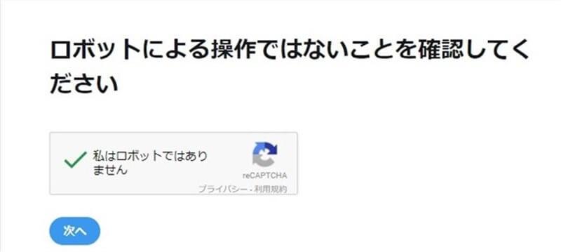 Google reCAPTCHAチャレンジ完了後の画像